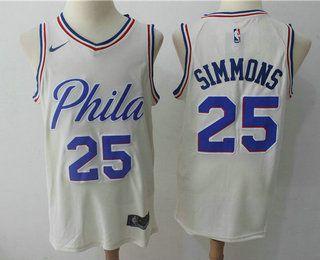 half off d5ace 400d7 Men's Philadelphia 76ers #25 Ben Simmons Cream Nike City ...
