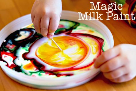 """milk + food coloring + dishsoap + toothpick : The fun is in the mixing of colors, but kids can """"paint"""" paper towels afterwards."""