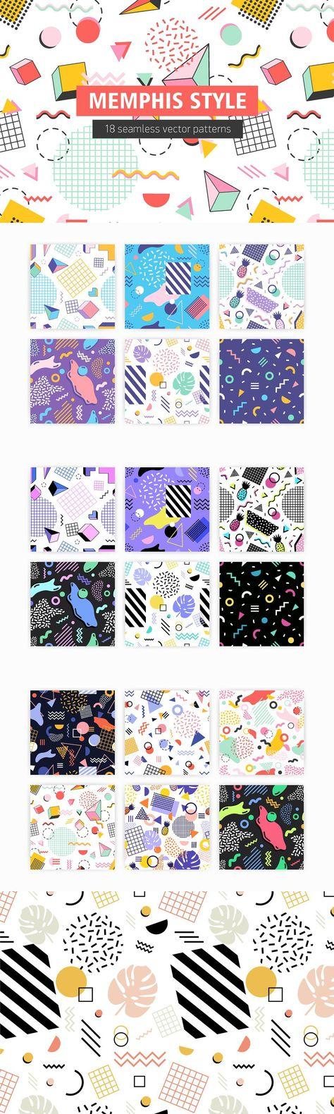 Abstract memphis semless patterns