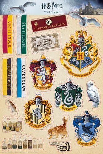 Harry Potter stickers decal Hogwarts Cryffindor Slytherin party bag fillers card