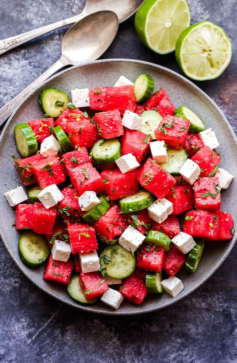 Watermelon Salad with Cucumber and Feta is an easy to make, refreshing salad to make this summer! Salty, sweet and perfect alongside your favorite grilled protein. Salade Watermelon Salad with Cucumber and Feta Grilled Watermelon, Watermelon Recipes, Watermelon Popsicles, Watermelon Cucumber Feta Salad, Summer Salad Recipes, Summer Salads, Spicy Grilled Chicken, Food Combining, Soup And Salad