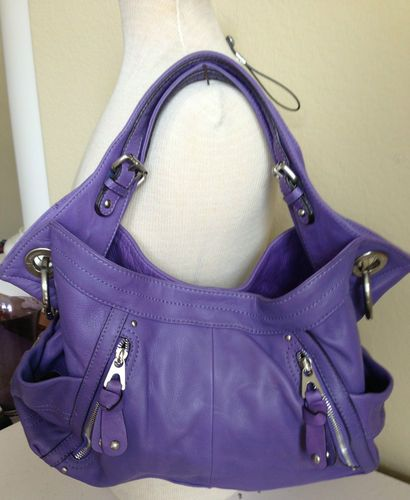 B Makowsky Purple Soft Supple Leather Hobo Shoulder Handbag Versital Straps