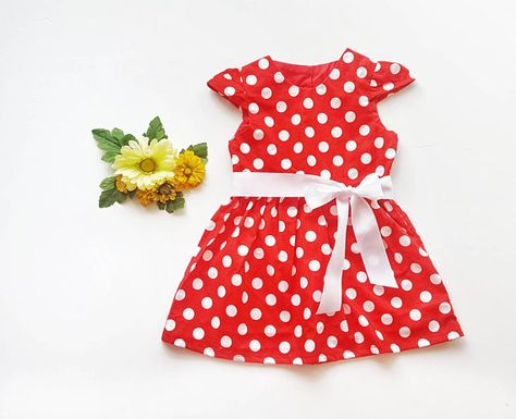 94bbe0958d34 Red Polka Dots Dress - Baby Girl Dress - Toddler Dress- Baby Girls ...