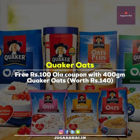 Free Rs. 100 ola coupon. Trick is posted in our app. 👉(link in bio) TaG:-#jugaadhai . . . #quakeroats #quakeroatmeal #breakfast #oats #ola #olacabs #freeride #uber #uberride #cabride #amazon #amazonindia #taxi #freetaxi #uberpool #free #tricks #tavelling #money #hacks