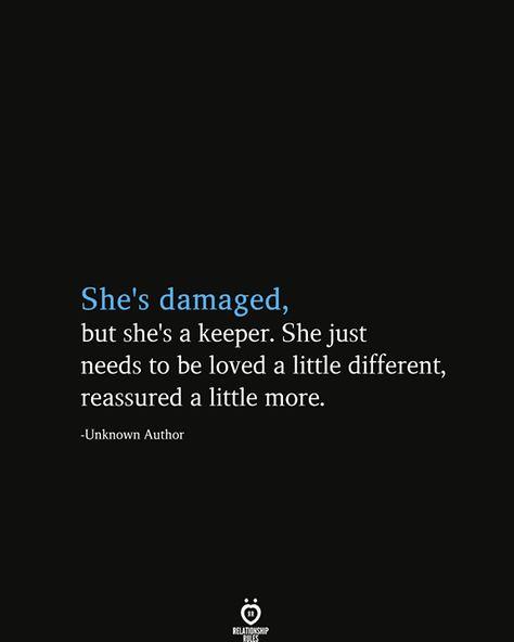 She's Damaged, But She's A Keeper