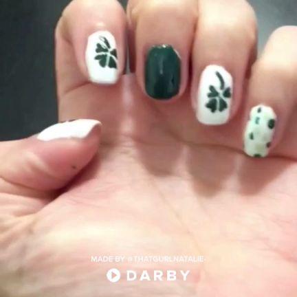 Four Leaf Clover St Patricks Day Nail Design #naildesign #nailart #stpatricksday #beauty #naildiy