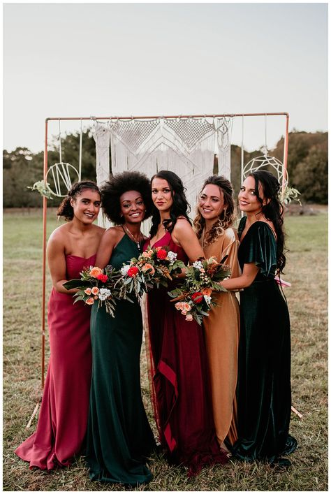 Boho Fall Meadow and Tree Farm Styled Elopement in Galloway, NJ Jewel Tone Bridesmaid, Bridesmaid Dresses Different Colors, Mismatched Bridesmaid Dresses, Wedding Bridesmaid Dresses, Boho Bridesmaids, Yellow Bridesmaids, Def Not, Bridesmaid Inspiration, Wedding Inspiration