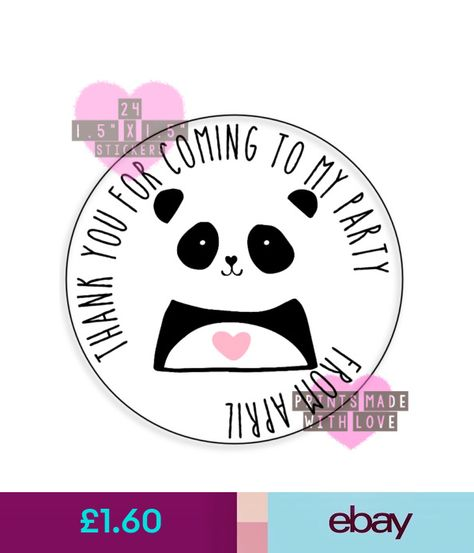 personalised panda heart 24 party bag stickers sweet cone labels