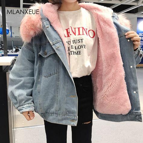 Online Shop With Fur Trim Hood Cotton Liner Long denim jackets women winter hardy warm denim coats jackets female plus size loose outerwear