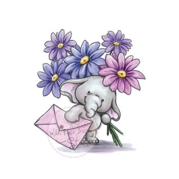 Wild Rose Studio BELLA WITH FLOWERS Clear Stamp Set CL226