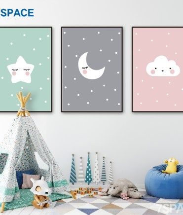 Cute Cartoon Baby Animal Penguin Monkey Nursery Poster Canvas Art Print Wall Painting Nordic Kids Child Room Decoration Picture Kids Room Paint Kid Room Decor Nursery Decor Canvas
