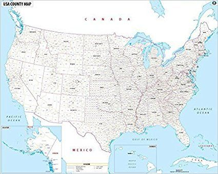 "Wall Map 36/"" x 28.75/"" Laminated USA Map with County Names"