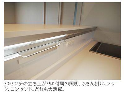 30センチの立ち上がりに付属の照明 ふきん掛け フック コンセント どれも大活躍 リビング キッチン キッチンのカウンタートップ キッチン 収納棚 スライド