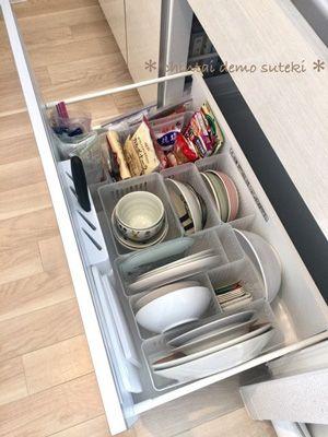 シンク下の食器収納 ダイソーの野菜収納ボックスが大活躍 シンク下
