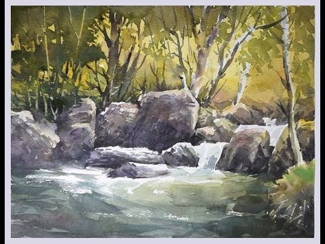 Transparent Watercolor Paint Along Rushing Waters Part 3 Narrated Tutorial Youtub Landscape Paintings Watercolor Landscape Paintings Draw Flowers Watercolor