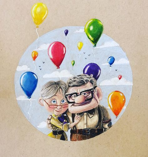"""You and me, we're a club now!"" All done with this Giveaway drawing of Ellie and Carl from up I had a lot of fun doing this drawing and…"