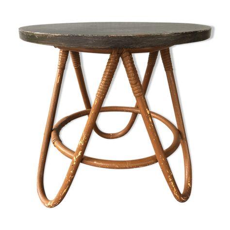 Gueridon Table Basse Rotin Bicolore Vintage En 2020 Table Basse