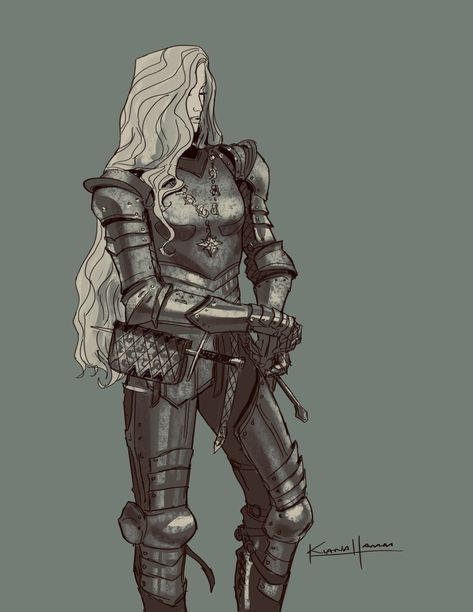 Kiana Hamm on Fantasy Character Design, Character Design Inspiration, Character Concept, Character Art, Knight Drawing, Knight Art, Drawing Armor, Female Armor, Female Knight