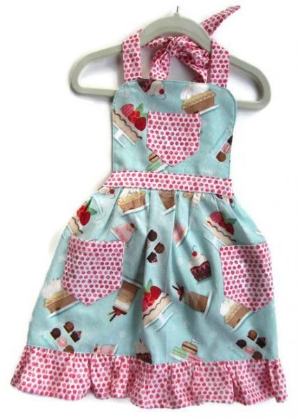 Cupcake Apron Baking Apron Toddler Apron Children/'s Apron Kids Apron Girls Apron Little Girls Apron Cooking Apron Retro Style Apron