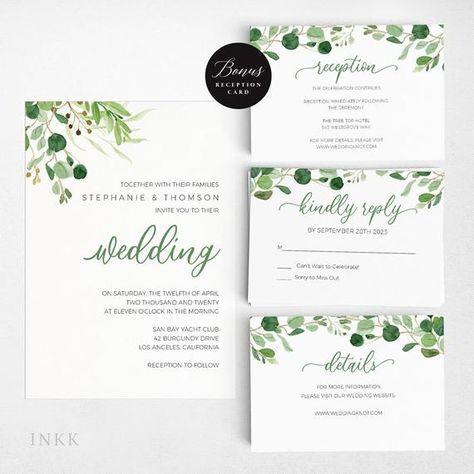 Wedding Invitation Template Greenery