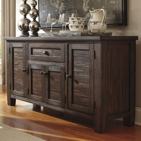 Brimming With Antiqued Charm This Four Door Pine Wood Sideboard Brings Versatile Appeal To Any F With Images Dining Room Server Dining Room Storage Solid Wood Dining Room