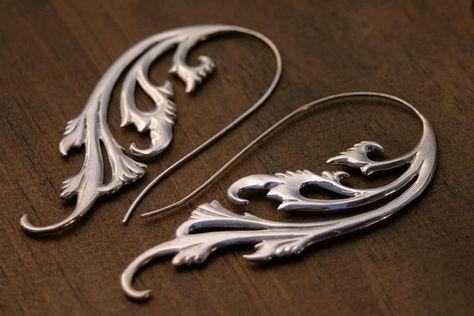 Silver Swirling Earrings Sterling Silver Jewelry by Zephyr9