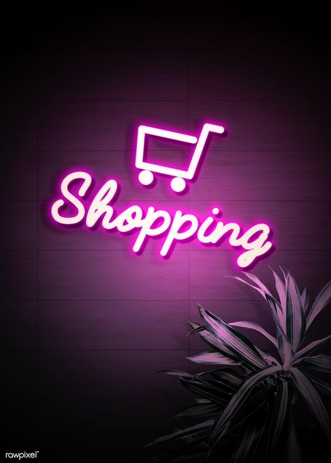Download premium image of Neon purple shopping cart on a wall 894347