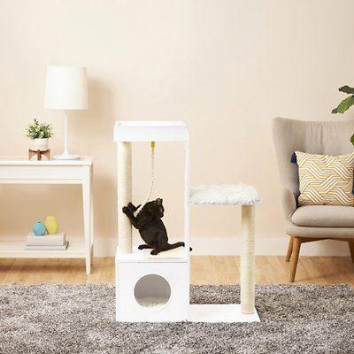 Frisco 41 In Modern Cat Tree Condo Gray Chewy Com In 2020 Modern Cat Tree Cat Tree Condo Modern Cat