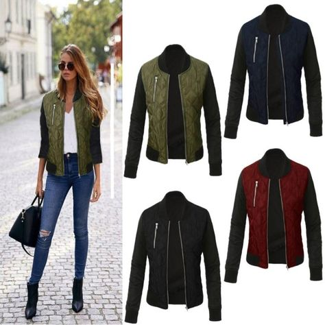 Women O-Neck Zipper Stitching Quilted  Bomber jacket $19.99 Free Shipping #fashion #womensfashion #winterfashion #fallfashion #womenscoats #onlineshopping #shopifystore #shoppingonline #allthingseveryone #allthingseveryoneshop