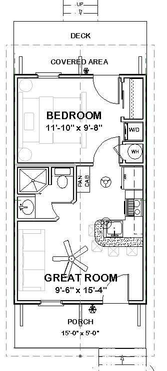 Affordable House Tiny Home Blueprints Plans 1 Bedroom Cottage 390 Sf Pdf 39 99 In 2021 Cottage Floor Plans Tiny House Floor Plans Building Plans House