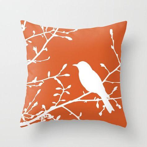 Bird On Branch Pillow Cover Orange Decor Burnt Orange Pillow