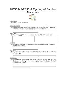Ngss Ms Ess2 1 Cycling Of Earth S Materials Worksheet With Answer
