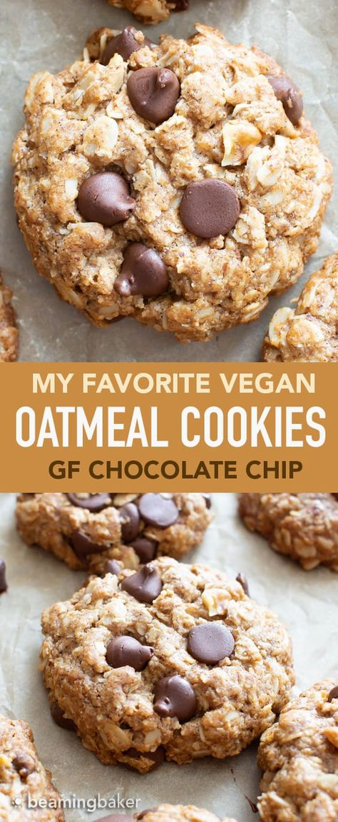 Vegan Oatmeal Chocolate Chip Cookies (GF): my FAVORITE Vegan oatmeal chocolate chip cookies have crisp edges, chewy centers and are chockfull of chocolate! This vegan Gluten Free oatmeal chocolate chip cookies recipe is Dairy-Free & made from Plant-Based, Cookie Vegan, Vegan Oatmeal Cookies, Gluten Free Oatmeal, Healthy Cookies, Gluten Free Vegan Cookie Recipe, Gluten Dairy Free, Nut Free Cookies, Best Gluten Free Cookies, Healthy Vegan Cookies