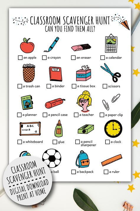 Printable Classroom Scavenger Hunt For Kids, Games For Class And School Scavenger Hunt