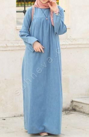 Dantelli Kot Pardesu Lacivert Tesettur Firsat Urunleri Suhneva Kot Elbiseler Islami Giyim Elbise