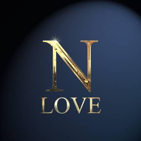 Gold Alphabet Letter N Word Love On A Blue Background Love Wallpaper Backgrounds Lettering Alphabet Alphabet Wallpaper