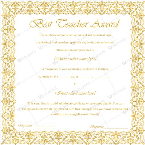 Best Teacher Award Certificate Template Word #certificate - microsoft word award certificate template