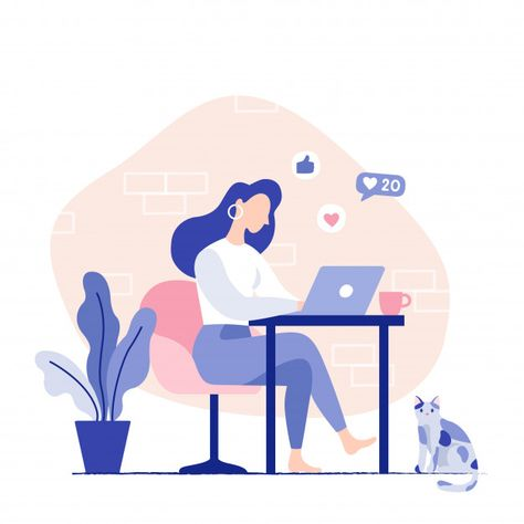 Woman Sitting On The Chair Working On The Laptop. Freelancer Home Workplace. Vector Flat Illustration.