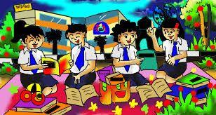Hasil Gambar Untuk Contoh Gambar Sketsa Sekolah Adiwiyata Kartun