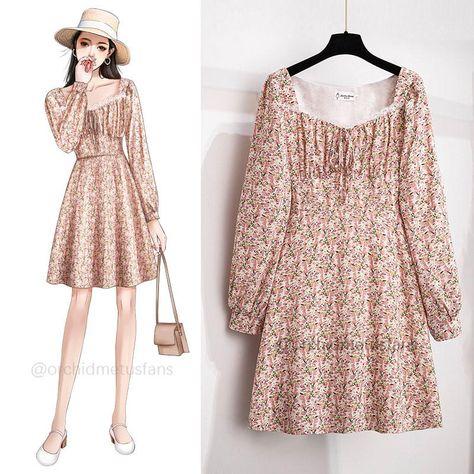 Gentle Floral Print Mini Dress - pink / L