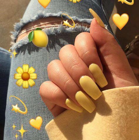 Yellow mattte coffin acrylic nails #acrylicnail