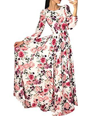 Longra Kleider Damen Schone Kleider Lang Sommerkleider Maxikleid Boho Strandkleid Mit Blumen Damen L Women Long Dresses Long Sleeve Boho Dress Maxi Dress Party