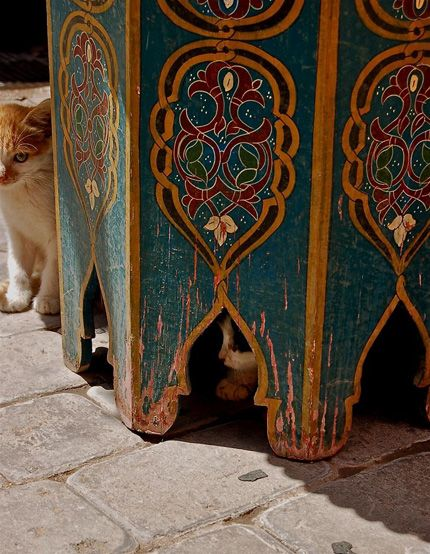 Moroccan table...and cats. :) They're everywhere.  Go, visit.. see for yourself.  :) :)