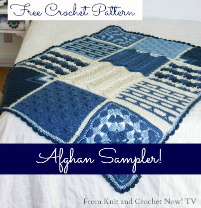 Free Crochet Afghan Sampler Pattern from Season 3 of Knit and Crochet Now! TV. Every other episode features a different square. This free crochet download includes free patterns for all 6 Crochet Sampler Afghan Squares. Learn more here: http://www.knitandcrochetnow.com.