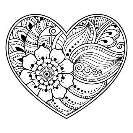 Patron De Flores De Mehndi En Forma De Corazon Con Lotus Para Dibujo De Henna Y Tatuajes Decoracion En Es Muster Zeichnung Mandala Ausmalen Muster Malvorlagen