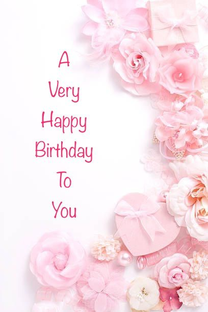 Happy Birthday Pink White Flowers Pearls Hearts And Bows