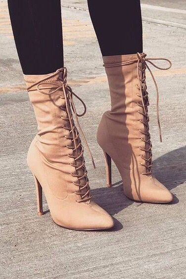 915b4d4de32 Womens Casual Lace Up Boots Autumn High Heels Pointed Toe Shoes in ...