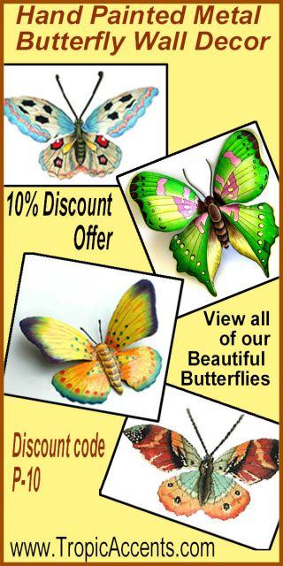 Painted Metal Butterflies Tropical Decor Butterflies Hand