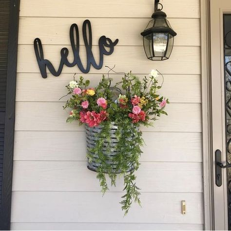 Hello Word Wood Cut Wall Art Sign Home Bedroom Wedding Business Nursery Decor - Summer Porch Decor & Front Door Decor Front Door Decor, Front Porch Decorations, Front Yard Ideas, Porch Wall Decor, Summer Porch Decor, Fromt Porch Ideas, Front Yard Fence Ideas Curb Appeal, Outside House Decor, Front Door Landscaping