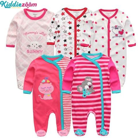 7dd61ba3dc3 2018 5PCS lot Newborn Baby Girl Rompers Full Long Sleeve Cotton Jumpsuit  O-Neck 0-12M Baby Playsuit Clothes Inftant Boy Clothing